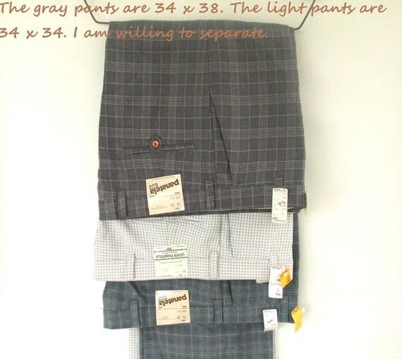Men Levi Panatela Leisure Pants plaid polyester slacks 34 x 38 / 34 x 34 Deadstock