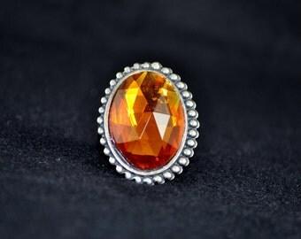 Large Golden Amber Crystal Fashion Ring