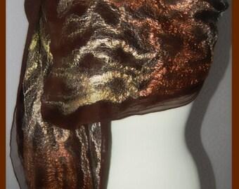 Nuno felted scarf  felt scarf  scharf with natural silk