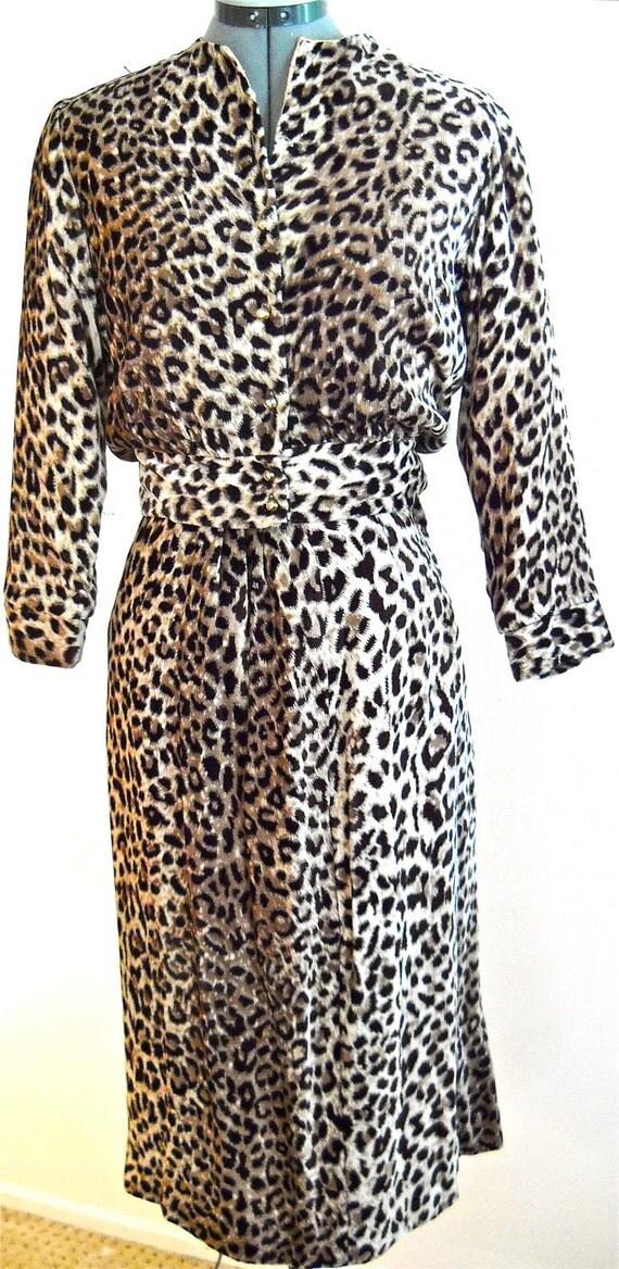 Spectacular 1950s dress suit, LEOPARD velvet