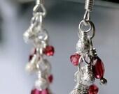 Petite Fire & Ice Faceted Deep Red Garnet Stardust Cluster Earrings
