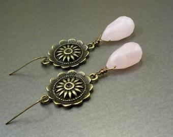 Rose quartz earrings: genuine pink quartz jewelry flower earrings, brass, drop earrings, rose crystal earring, pink crystal, dangle