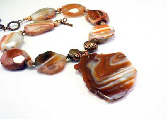 Agate necklace: chunky natural gemstone statement necklace by NatureLook, red necklace, fall fashion