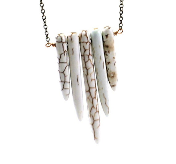 Long necklace: tribal necklace, stone spike necklace, ethnic jewelry, white howlite necklace