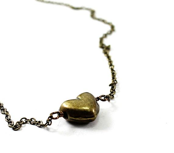 Heart bracelet: metal heart, Valentines Day bracelet brass heart jewelry