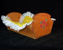 Wood Bread Basket - Roll Serving Basket -solid wood- hand painted wood bread keeper -table rolls serving wooden tray