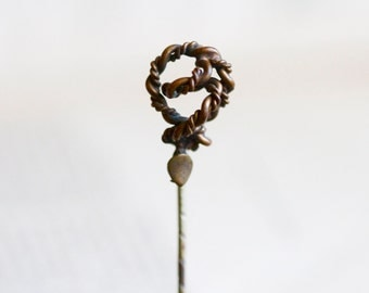Antique Brass Stick Pin - A Journey to the Center of the Earth - Steampunk Jewelry