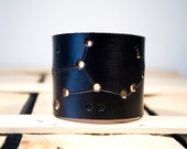 Virgo Zodiac Black Leather Cuff
