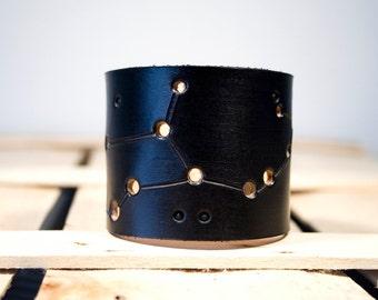 Virgo Zodiac Black Leather Cuff