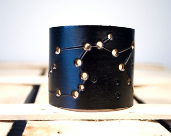 Black leather cuff Aquarius constellation