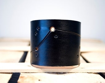 Zodiac leather cuff Aries constellation