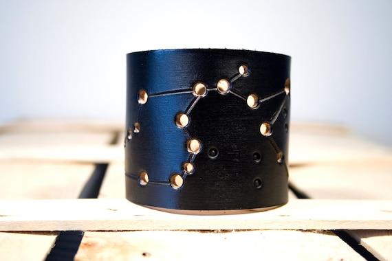 Black leather cuff Aquarius constellation