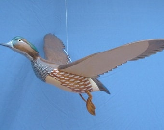 Hand carved Flying Wood Duck hen Decoy Duck carving