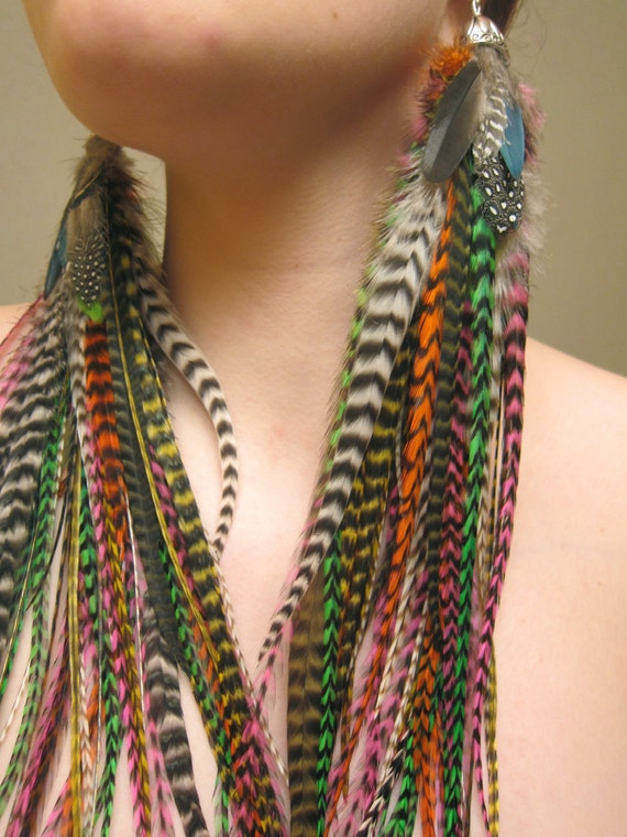 SALE - FREE SHIPPING - Grizzly Queen - Natural Extra Long Feather Earrings - Only Pair & Ready to Ship - Ooak