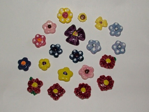Flowers -  Mixed Colors Ceramic for Mosaics or Magnets