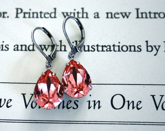 Rose Peach Swarovski Crystal Earrings, Oxidized Silver, Lever Back Ear Wires, Bridesmaid Jewelry, Weddings, Pink