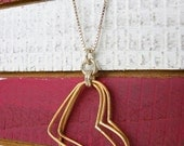 Brass Wire Hearts with a Sterling Silver Box Chain