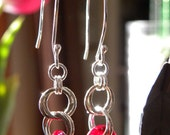 Sterling Silver and Red Glass Donut Earrings