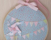 Bunting Embroidery Hoop Art Shabby Chic Decoupage Pastel Pinwheel