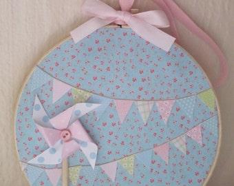 Bunting Embroidery Hoop Art Shabby Chic Decoupage Pastel Pinwheel