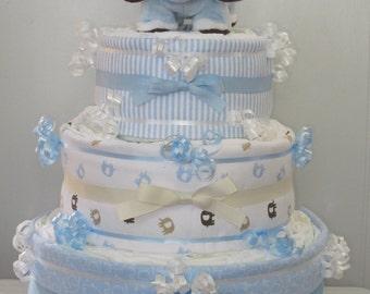 Elephant Diaper Cake 3 Tier Blue Baby Boy
