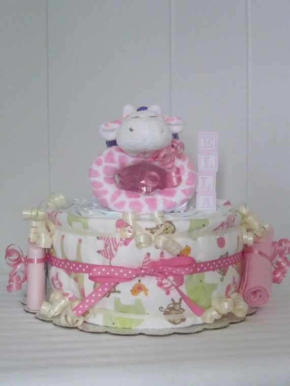 Baby Girl Diaper Cake Personalized Pink and Green Giraffe Safari Jungle Animals Theme