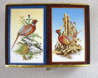 Vintage set of playing cards in velvet box Double deck