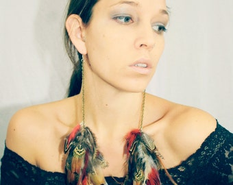 Gifts for Her, Natural Long Feather Chain Earrings-12 inches long-Feather Symbolism-Tribal, Hippie, Bohemian
