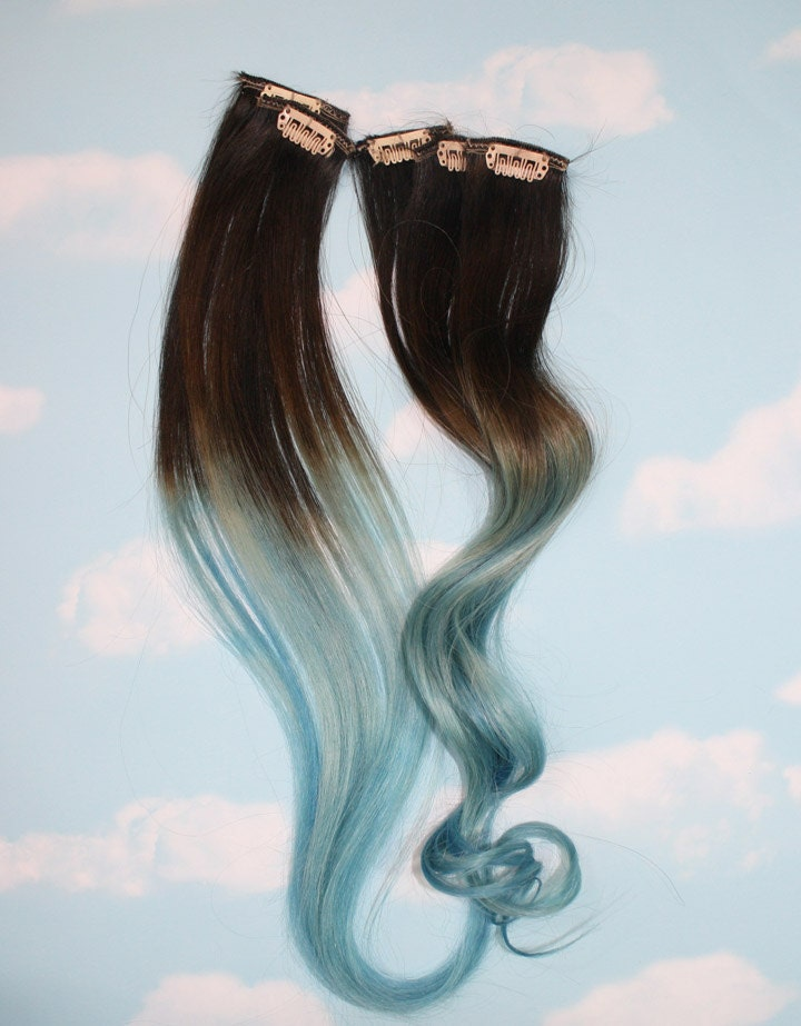 Light blue dip dyed hair extensions for brown hair 20 22 zoom pmusecretfo Images