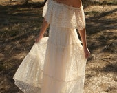 Off The Shoulder, Ivory, Vintage Wedding Dresses, 70s - Lu