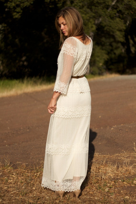 Ivory Lace, Long Sleeves, Vintage Wedding Dress - Ellie