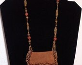"""Christmas in July Sale!  Leather Amulet Bag Necklace with 24k gold plated Seed Beads, 24"""" long, FREE SHIP USA  0609"""