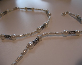 Anastacia pearls and silver filigree anklet.
