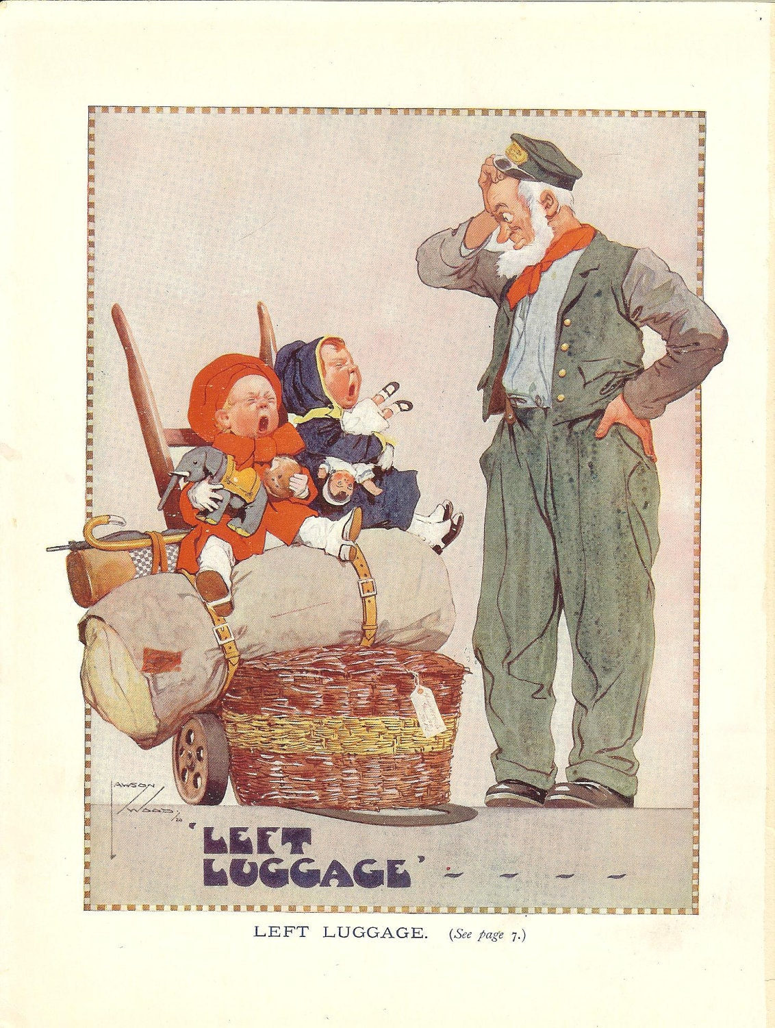 1923 Lawson Wood Children's Print Left Luggage Puzzled