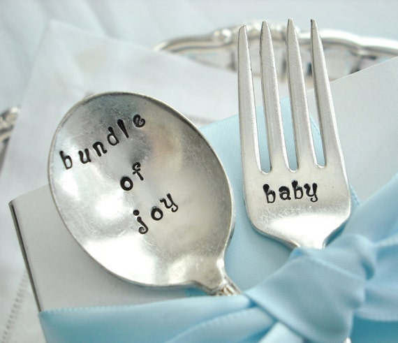 REDUCED - Antique Vintage Silver Plated Hand Stamped  Matching Baby Fork and Spoon - bundle of joy / baby