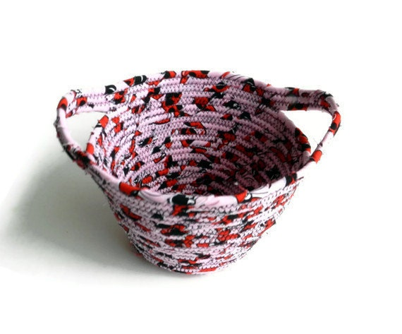 Fabric coiled bowl - pink, red, black, and white ladybugs bowl - medium