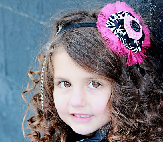 Girls Hot Pink Yoyo Headband Black White Pink Fabric Yoyo Headband tulle
