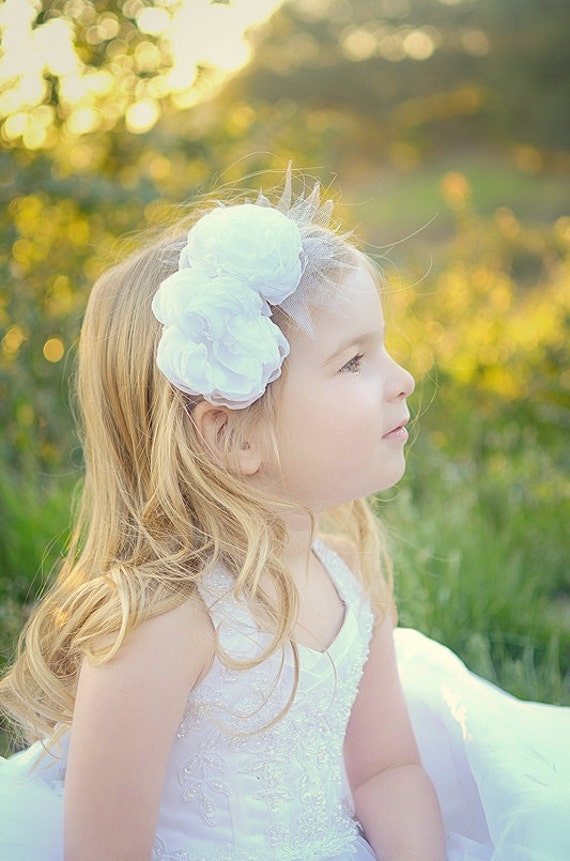 Flower girl headband Ivory headband White flower headband Christening headband Ivory flower girl headband Flower crown Bridal headband