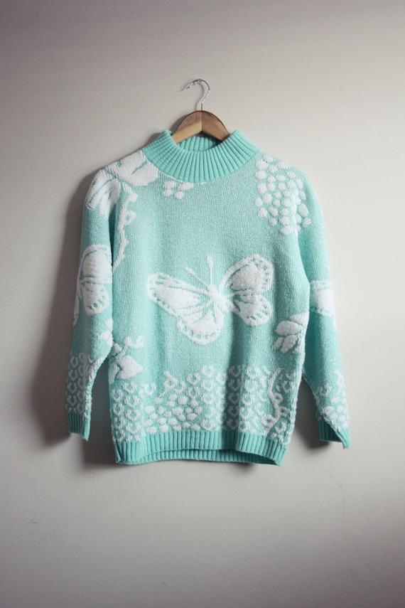 Vintage Seafoam butterflies Chunky Knit Sweater. Size S/M