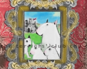 Pedigree Bull Terrier Card - Framed Terriers with Damask