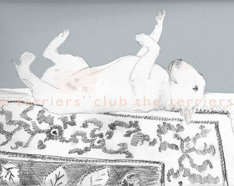 Rolling Bull Terrier on Turkish Rug Magic Carpet Ride Ready to frame print