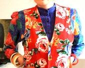 RESERVED for Yeva 90s red multicolor roses matryoshka velvet waistcoat M.