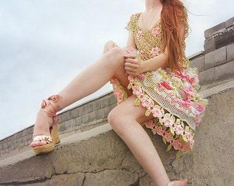 "Designer crochet lace boho chic shabby chic wedding spring dress ""Irish roses"" in hand dyied cotton and silk chiffon"