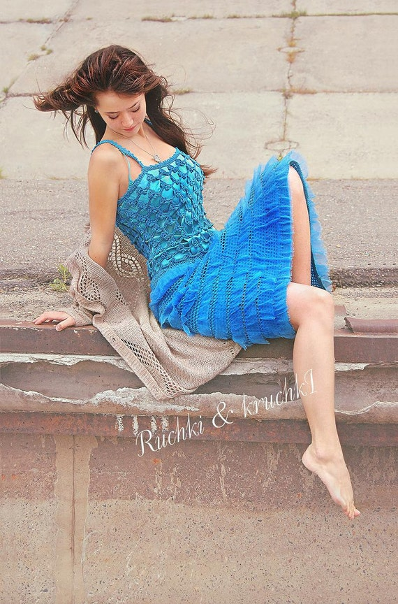 "Dress saphire royal blue ruffled crochet lace flowers boho chic gypsy ""Deep blue sea's Mermaid"" in blue cotton and silk chiffon"