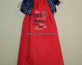 Red Mini Dot/Navy Stars Pillowcase Dress with Navy Saying
