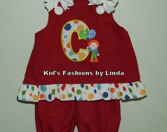 Clown Initial Red/Dot Ruffle Aline Top with Red /Dot Ruffle Pantaloons