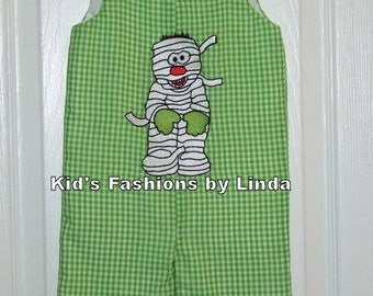 Green Gingham Mummy Longalls-Great for Pumpkin Patch