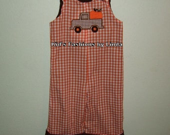Personalized Reversible Pumpkin Truck/Turkey Brown Corduroy Orange Gingham Turkey Longalls