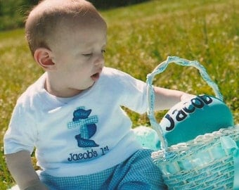 Personalized First Easter White Bodysuit or Tshirt with Cross and Blue Gingham Pants