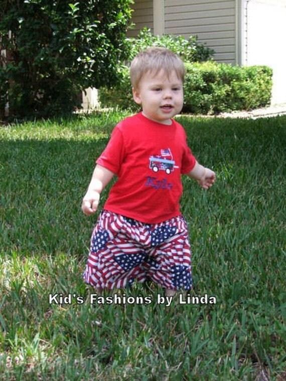 Personalized Patriotic Wagon Tshirt/Short set